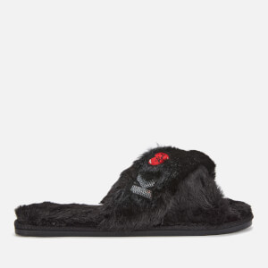 Karl Lagerfeld Women's Salotto II Karl Kross Strap Slippers - Black Wool