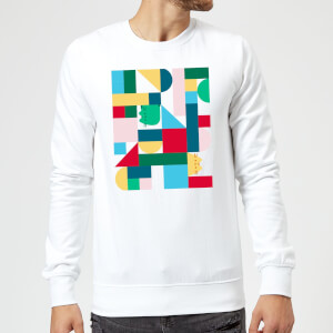 Pusheen Geometric Block Rectangular Print Sweatshirt - White