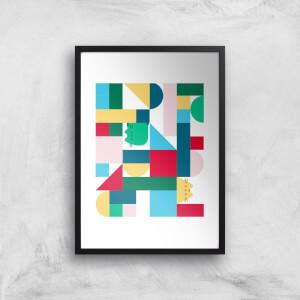 Pusheen Geometric Block Print Giclee Art Print