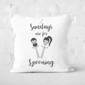 Sundays Are For Spooning Square Cushion