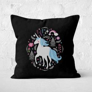 Blue Unicorn Square Cushion