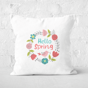 Pressed Flowers Hello Spring Floral Reef Square Cushion