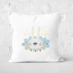 Pressed Flowers Easter Bunny Square Cushion