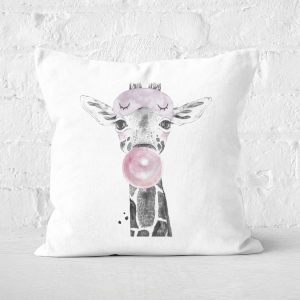 Pressed Flowers Bubblegum Giraffe Square Cushion