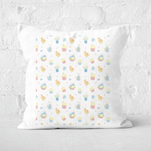 Pressed Flowers Easter Pattern Square Cushion