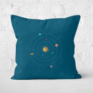 Pressed Flowers Solar System Square Cushion