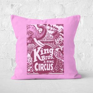 Pressed Flowers King Bros Three Ring Circus Square Cushion