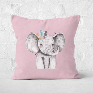 Pressed Flowers Indie Elephant Square Cushion