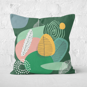 Earth Friendly Abstract Leaves And Feathers Square Cushion