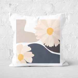 Pressed Flowers Abstract Daisies Square Cushion