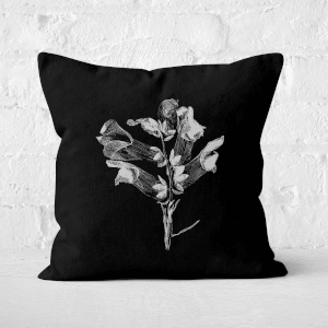 Pressed Flowers Monochrome Large Flower Square Cushion