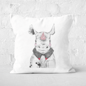 Pressed Flowers Clown Rhino Square Cushion
