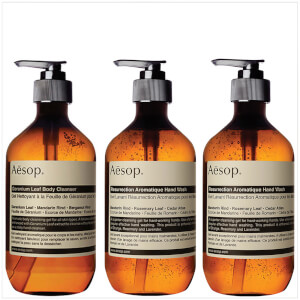 Aesop Geranium Cleanser, Resurrection and Reverence Hand Wash Bundle (Worth £87.00)