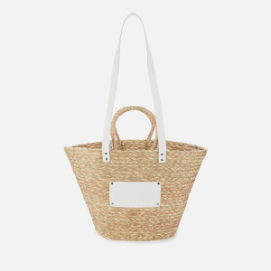 Núnoo Women's Large Wicker Tote Bag - Nature/White