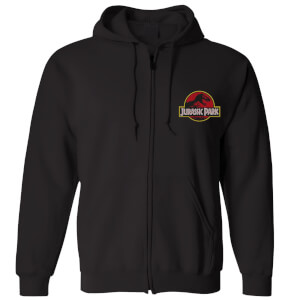 Jurassic Park Logo Embroidered Unisex Zipped Hoodie - Black