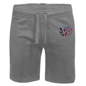 DC Super Girl Embroidered Unisex Jogger Shorts - Grey