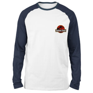 Jurassic Park Logo Embroidered Unisex Long Sleeved Raglan T-Shirt - White/Navy