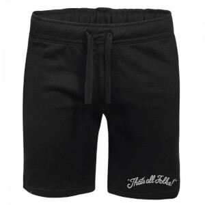Looney Tunes That's All Folks Embroidered Unisex Jogger Shorts - Black