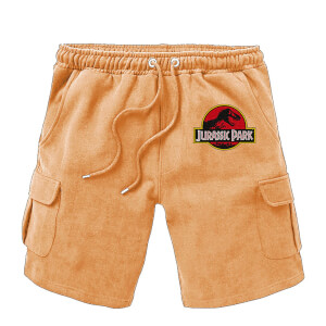 Jurassic Park Embroidered Unisex Cargo Shorts - Brown