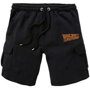 Back To The Future Logo Embroidered Unisex Cargo Shorts - Black