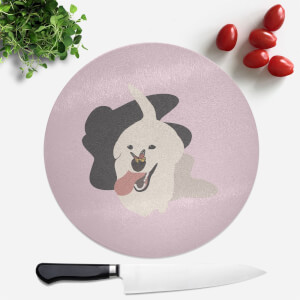 Dog With Butterfly Nose Round Chopping Board