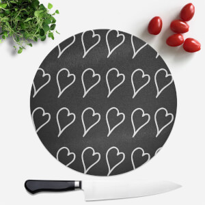 Scribbled Hearts Round Chopping Board