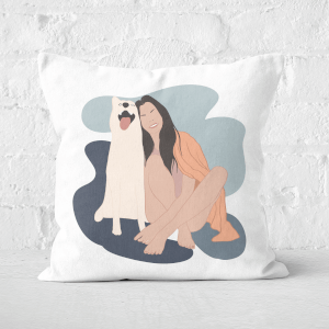 Smiles With The Pup Square Cushion