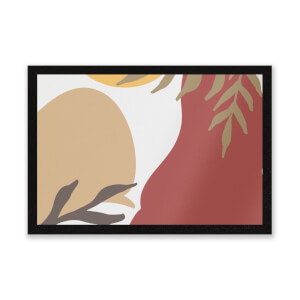 Hot Tone Abstract Leaves Entrance Mat