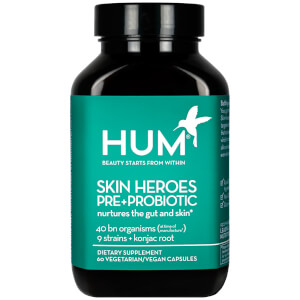 HUM Nutrition Skin Heroes Pre+Probiotic Clear Skin Supplement (60 Vegan Capsules, 30 Days)
