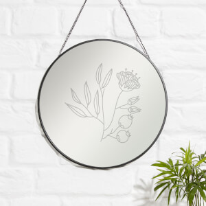Leaves And Flowers Engraved Mirror