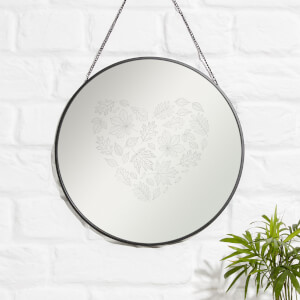 Heart Of Leaves Engraved Mirror