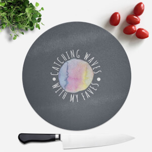 Catching Waves With My Faves Round Chopping Board