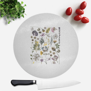 Pressed Flowers Pressed Flower Print Round Chopping Board