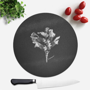 Pressed Flowers Monochrome Large Flower Round Chopping Board