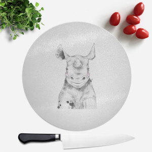 Pressed Flowers Blushed Rhino Round Chopping Board