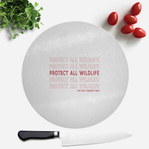 Pressed Flowers Protect All Wildlife Round Chopping Board