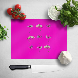 Pressed Flowers Hot Tones Trio Flower Print Chopping Board