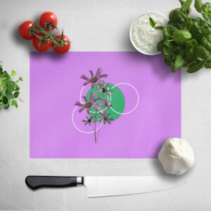 Pressed Flowers Feminine Sketch And Circle Print Chopping Board