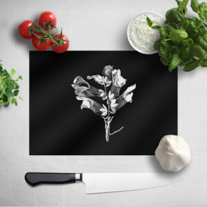 Pressed Flowers Monochrome Large Flower Chopping Board