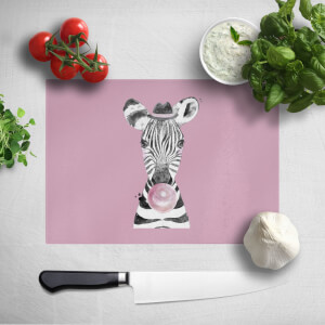 Pressed Flowers Bubblegum Zebra Chopping Board