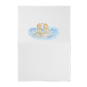 Mermaids Cotton Tea Towel - White