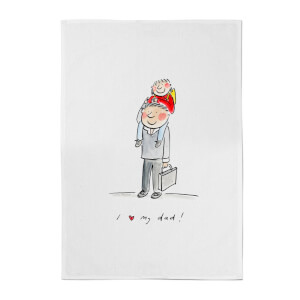 I Love My Dad Cotton Tea Towel - White