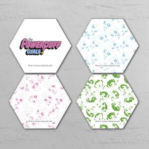 The Powerpuff Girls Pattern Hexagon Coaster Set