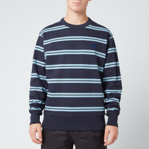 Acne Studios Men's Striped Face Sweatshirt - Navy Blue