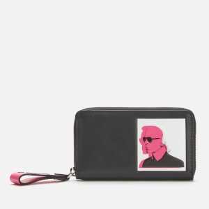 Karl Lagerfeld Women's Karl Legend Medium Zip Wallet - Black