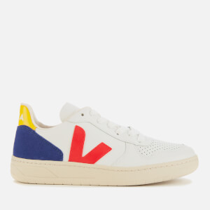 Veja Women's V-10 Leather Trainers - Extra White/Pekin/Cobalt Tonic