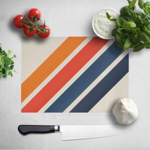 Blue Orange Retro Stripes Chopping Board