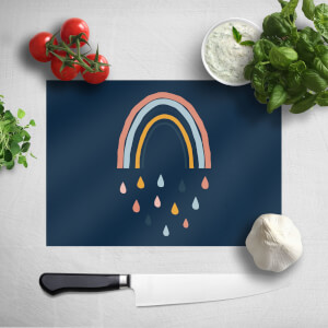 Rainbow And Rain Fall Chopping Board