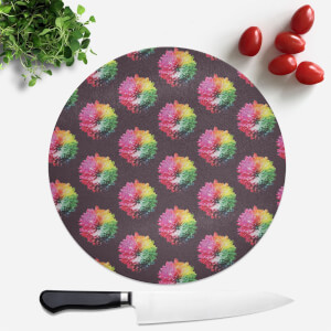 Fluro Flower Pattern Dark Round Chopping Board