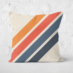 Blue Orange Retro Stripes Square Cushion